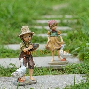 Image 2 - 22cm / 24cm High Garden Decoration Outdoor Art Resin American Girl and Boy Garden Figurines House Garden Yard Decor