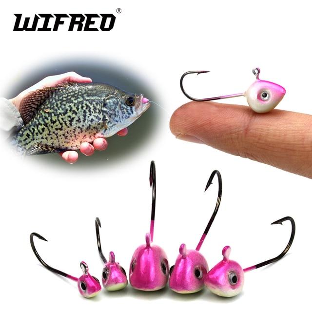 Wifreo 10PCS 6sizes Pantied No Collar Fly Tying Crappie Perch Fishing Jigs  Aberdeen Hooks Ice Fishing Fish Head Jig Size 4 6