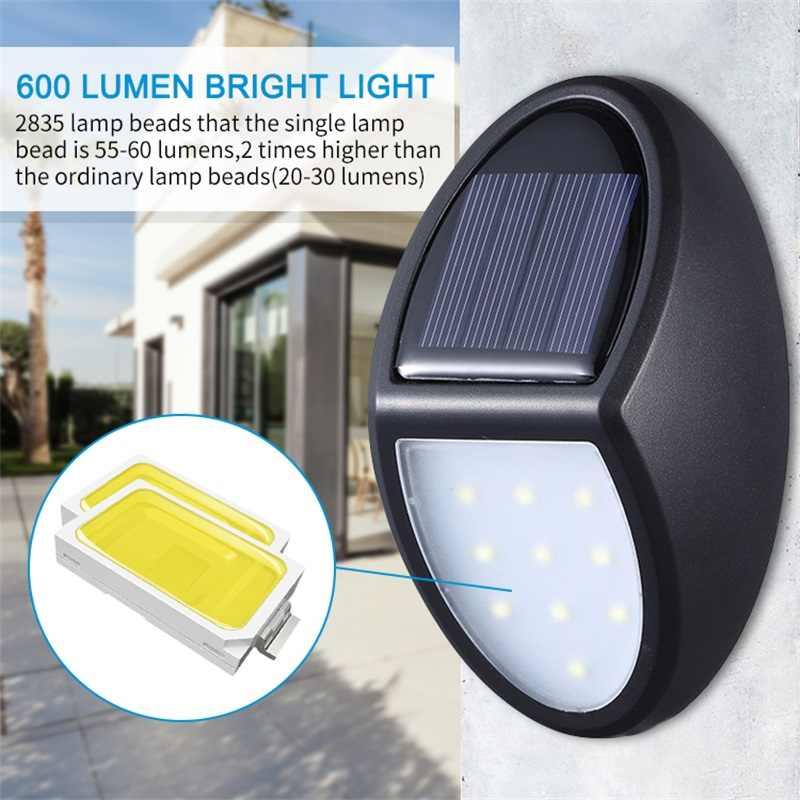 10 Светодиодный светильник на солнечной батарее, водонепроницаемый IP65, настенный светильник для безопасности, энергосберегающий, для двора, для дома, сада, аварийный светильник, бра