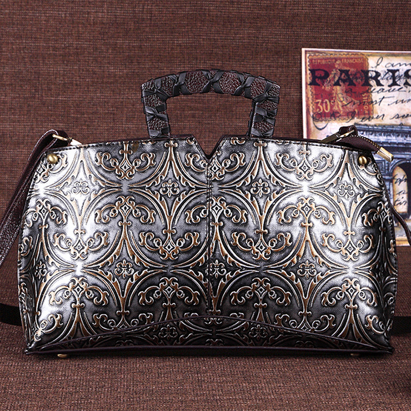 Luxury Top-Handle Bags Women Genuine Leather Messenger Shoulder Bags Vintage Clutch Tote Ladies Fashion Hobos Cross Body Bags luxury chinese style women handbag embroidery ethnic summer fashion handmade flowers ladies tote shoulder bags cross body bags