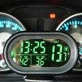 12 V/24 V 4 En 1 Termómetro Digital de Coches Auto Batería del coche Voltímetro del Metro Del Voltaje Tester Monitor Noctilucous Reloj Congelación alerta
