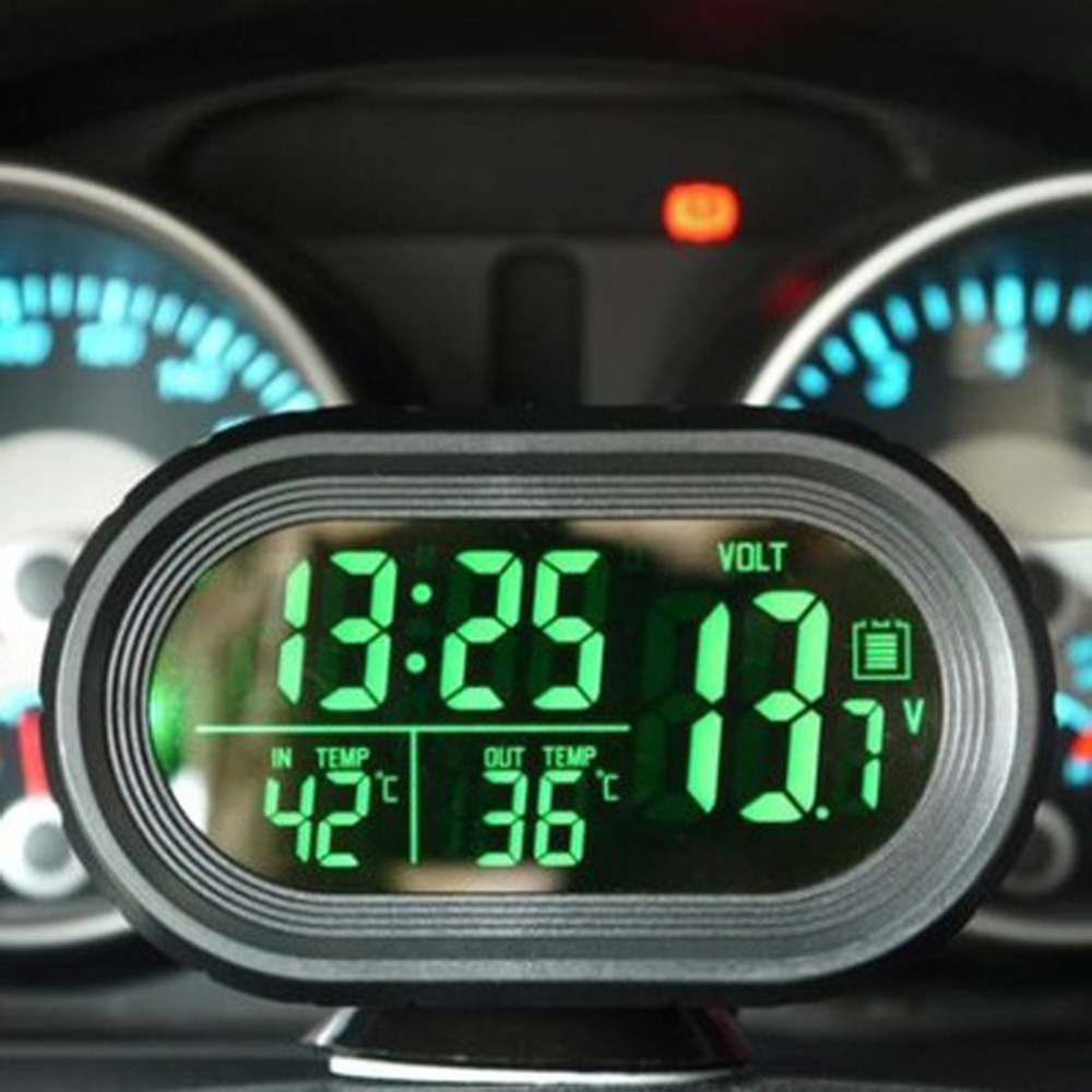12V / 24V 4 In 1 Digital Auto Car Clock Thermometer Car Battery Voltmeter Voltage Meter Tester Monitor Noctilucous Freeze Alert