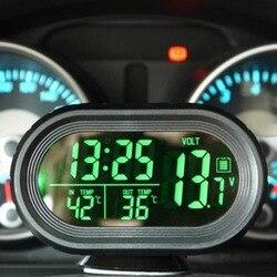 12V/24V 4 In 1 Digital Auto Car Clock Thermometer Car Battery Voltmeter Voltage Meter Tester Monitor Noctilucous Freeze Alert