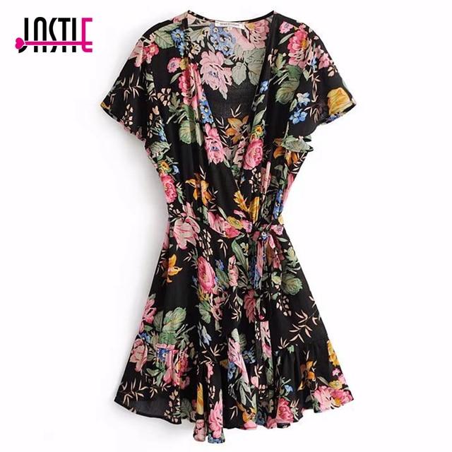 daae225f7 Vestidos cortos de verano Hippie de algodón 2018 Vestido de playa bohemio  Chic con estampado Floral