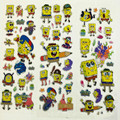 5 hojas/sistema Bob Esponja pegatinas de pared para niños decoración del Hogar Diario Notebook Etiqueta Decoración juguete 3D etiqueta engomada de la historieta juega el envío shippingWYQ