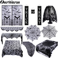 OurWarm реквизит для украшения на Хэллоуин, Черная кружевная занавеска с паутиной, скатерть для камина, летучая мышь, шарф, трик или лакомство, б...