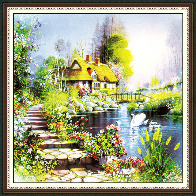 Diamond diamond Four seasons scenery painting Diamond Cross Stitch ...