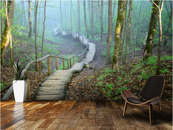 Custom Natural Wallpaper, Foggy Forest Stairway,3D Modern Wallpaper For  Living Room Bedroom Restaurant