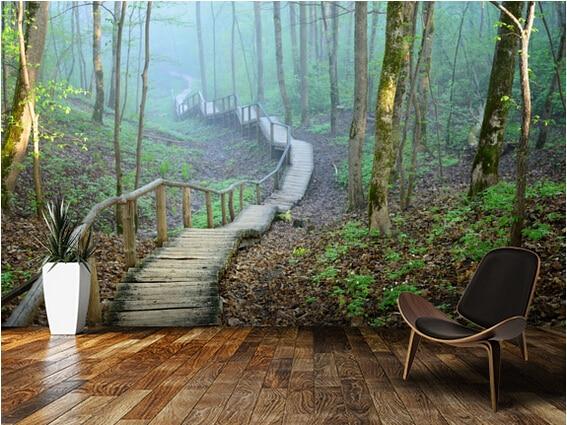 Custom natuurlijke behang mistig bos stairway d moderne behang