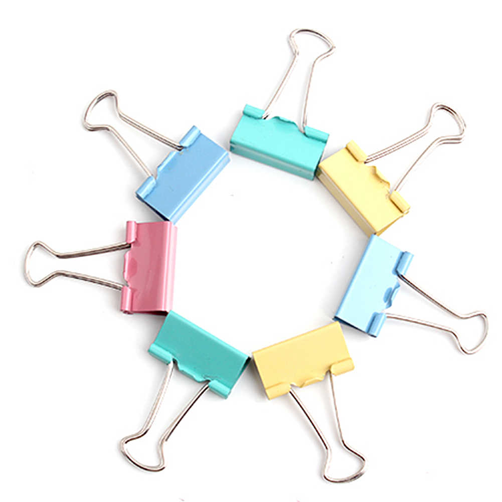 SDYDAY Foldback Clip, 10pcs 15mm Metal Organize Binder Clips Paper Binder Clamps for Home, Office and School(Color Random)
