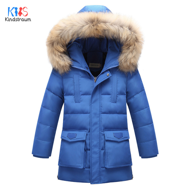 Kindstraum 2017 Winter Children Thick Down Jackets Boys & Girls Raccoon Hooded Solid Parkas Super Warm Coats for Kids,RC866