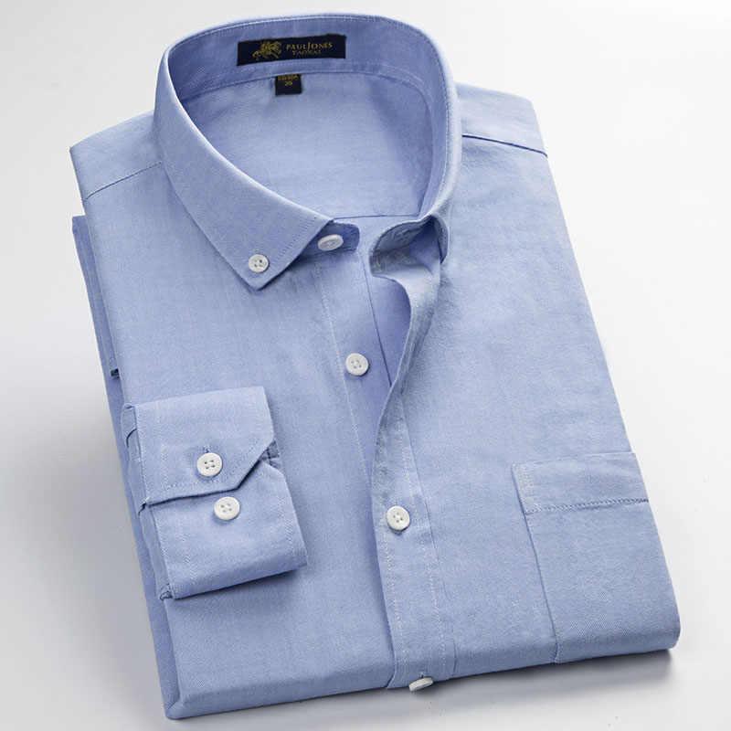 100%綿オックスフォード男性ドレスシャツ高品質の男性のクラシックスタイルフォーマルビジネス社会シャツ作業着用無鉄