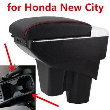 Honda için yeni şehir kutusu USB şarj yükseltmek çift katmanlı merkezi mağaza içeriği bardak tutucu küllük aksesuarları