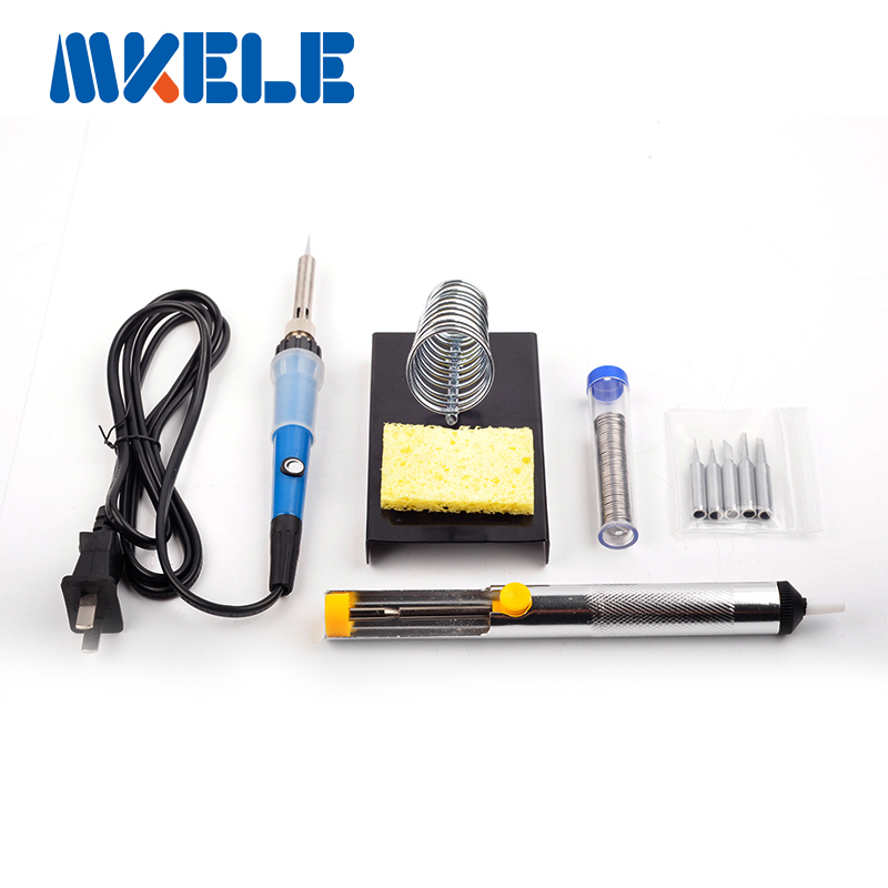50W soldering iron set: Soldering Iron,Solder Wire,Soldering iron stand, 5PCS Iron tips,Sponge,Suction tin