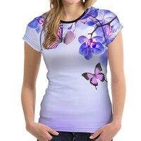 FORUDESIGNS Flower T Shirt Women Butterfly Flowers Basic Tee Tops Girls Bodybuilding Floral Tshirt Female Purple