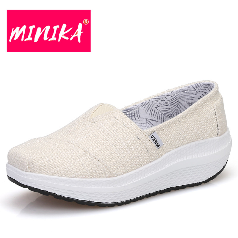 MINIKA Women Fashion Loafers Shoes New Arrival 2017 Shallow Mouth Women Casual Shoes Breathable Slip On Flat Shoes For Women minika fashion air mesh shoes women breathable