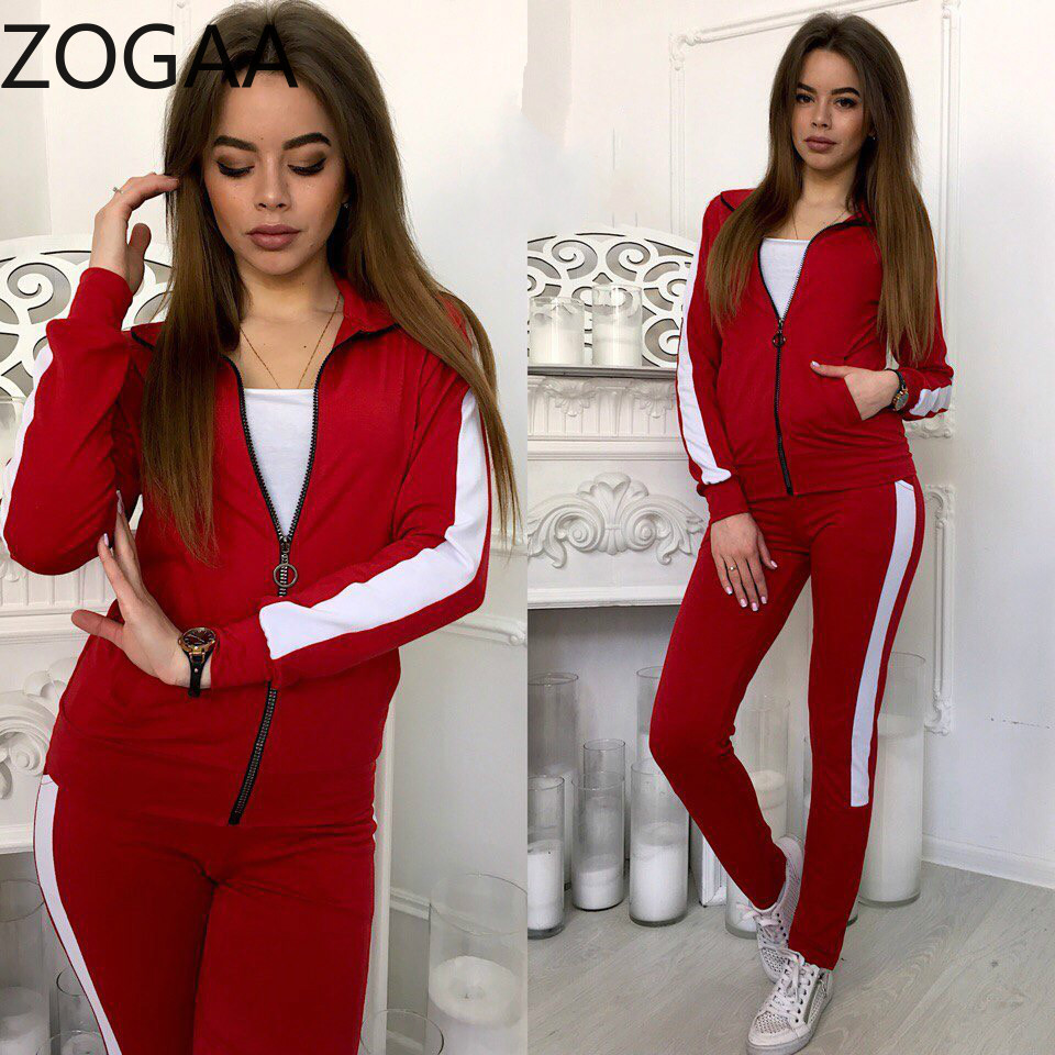 ZOGAA Women 2 Piece Outfits Two Sets Top and Pants Tracksuit Sweatsuit Clothing Womens Casual Set Suit