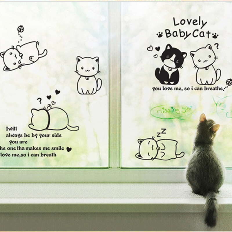 Amerika 3D Wallpaper Dekorasi Adesivo Kartun Hitam Kucing Lucu DIY Vinyl Wall Stiker Untuk Kamar Anak