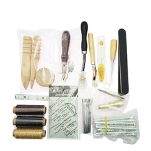 59 Pcs/Set Leather Craft Hand Tools Kit for Sewing Stitching Stamping Saddle Making Tool Hand-stitched