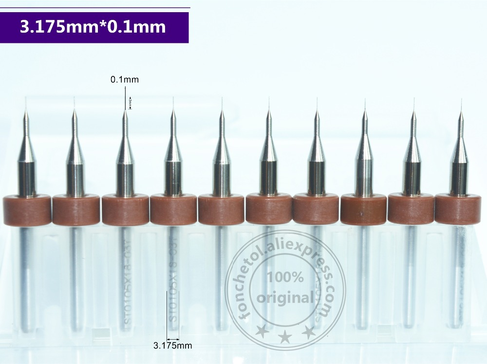 3.175mm(1/8'')*0.1mm,10pcs,Freeshipping Micro PCB Drill Bit,CNC Milling Cutter,Solid Carbide Drill,wood Tool,plastic,MDF