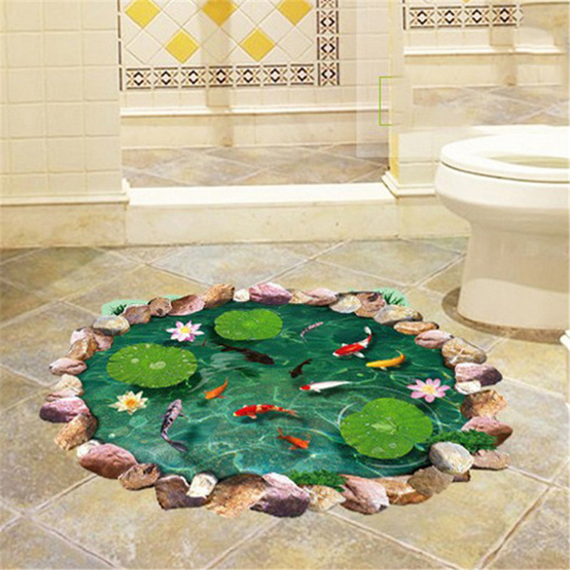 Balleenshiny Bathroom Wall Stickers Fishpond Cute Floor Living Room Decal DIY Kids Room Removable Waterproof Poster Home Decor