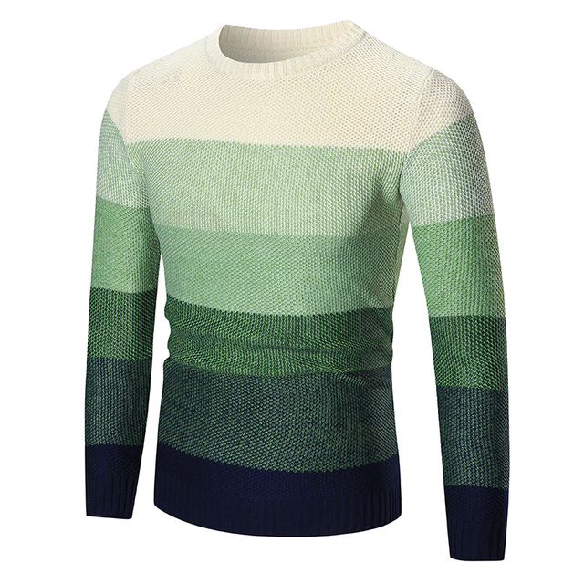 ab3b4233333 Soft Comfortable business Casual men Long Sleeve O-Neck gradually changing  color knitwear Brand Men Fashion City casual shirt
