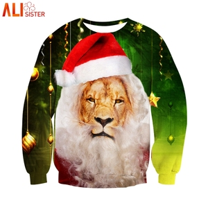 Alisister 3d Lion Hoodies Sweatshirt Men Women Autumn Winter Pullovers Ugly Christmas Gifts Funny Tops Tracksuit Shirts(China)