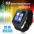 2016 Newest Android 4.4 Dual Core Smart Watch S8 Wrist watch Mobile Phones  Supports GSM 3G WCDMA Bluetooth 4.0 Wifi Camera
