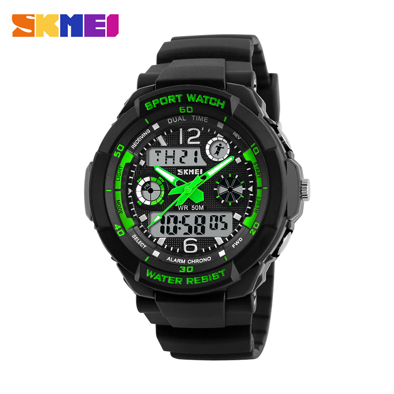 SKMEI 1060 Children Dual Display Wristwatches Digital Quartz Watch Outdoor Kid Clocks 50M Waterproof Boys Sports Watches Relogio hoska hd030b children quartz digital watch
