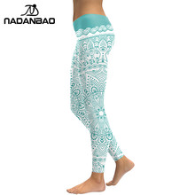 New Arrival Women Leggings Aztec Round Ombre Flower Printed Fitness Leggins Green Pants