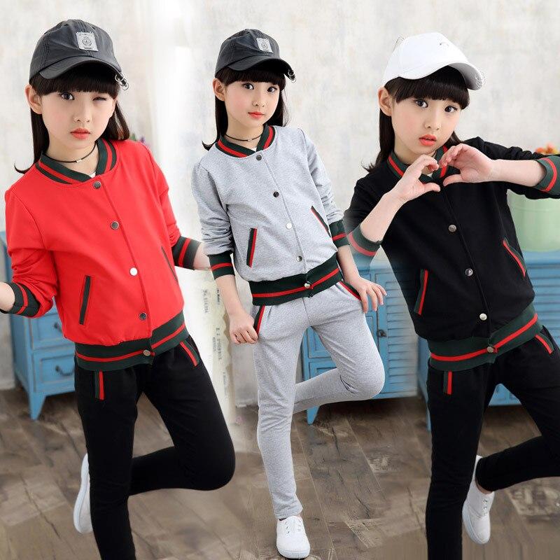 2018 new sports childrens suit girls children thread two-piece childrens clothing