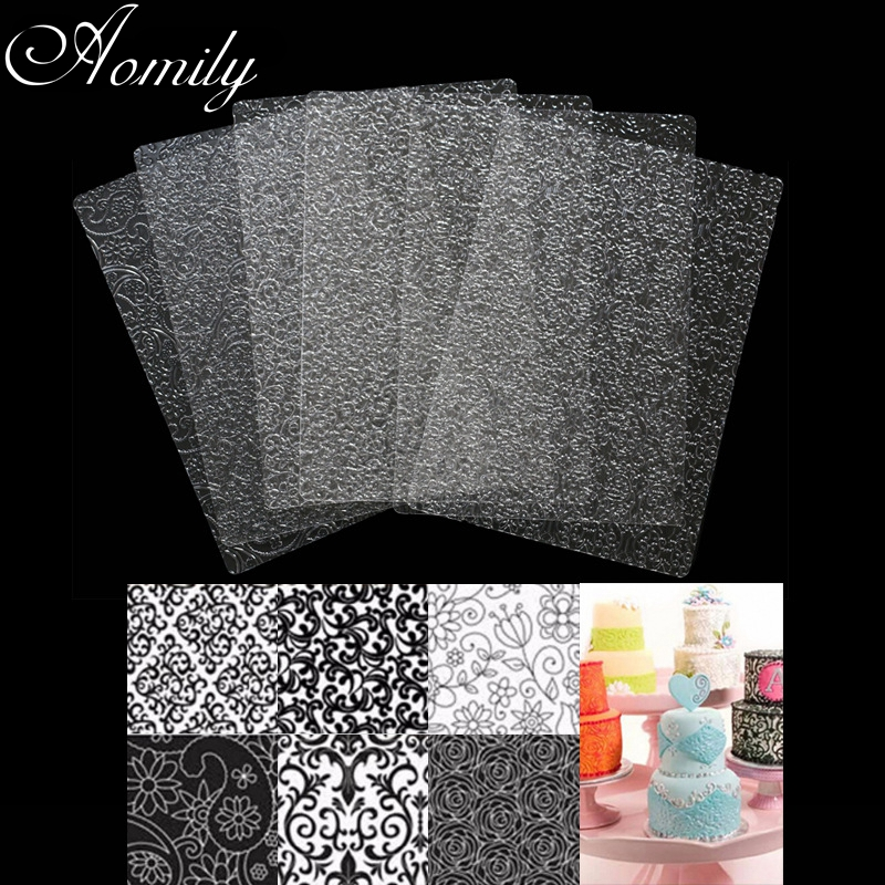 Aomily 6Pcs/Set Art Floral Fondant Cake Texture Molds Flower Transparent Plastic Sugar Crafts Sheet Mat DIY Home Baking Tools