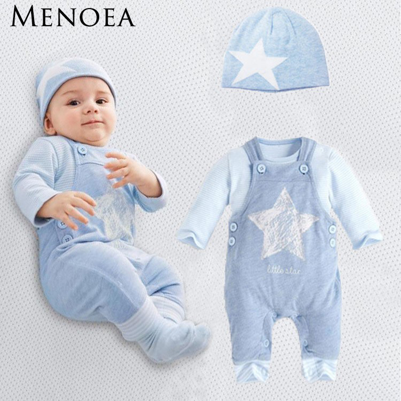cotton stars 3pcs (Hat + T-shirt, pants) clothing set 2016 NEW Casual Autumn Yarn dyed The stars printed boys sport suit