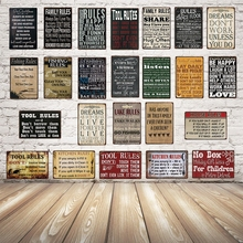 [ Kelly66 ] Tool Rules Family Rules Kitchen Rules  Metal Sign Tin Poster Home Decor Bar Wall Art Painting 20*30 CM Size Dy54 цена