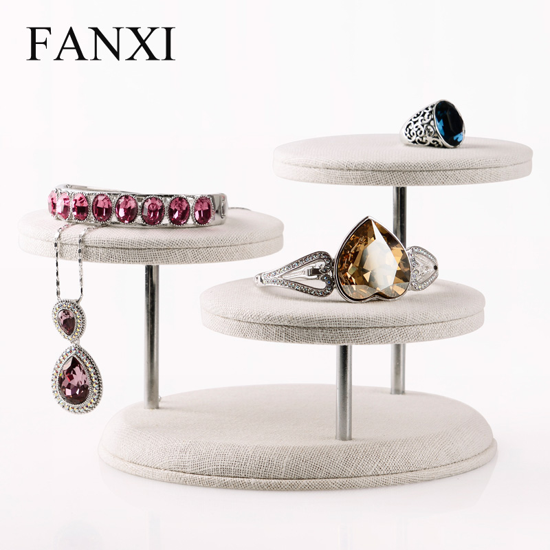 FANXI   Creamy-white Linen Jewelry Display Stand with 3 seats Bracelet Bangle Ring NecklaceDisplay Holder jewelry sets