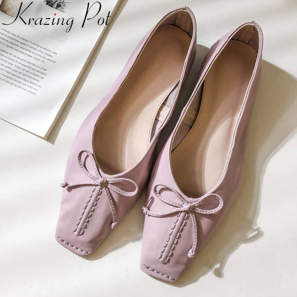 Krazing Pot large size bowtie luxury natural leather vintage square toe slip on loafers elegant pretty