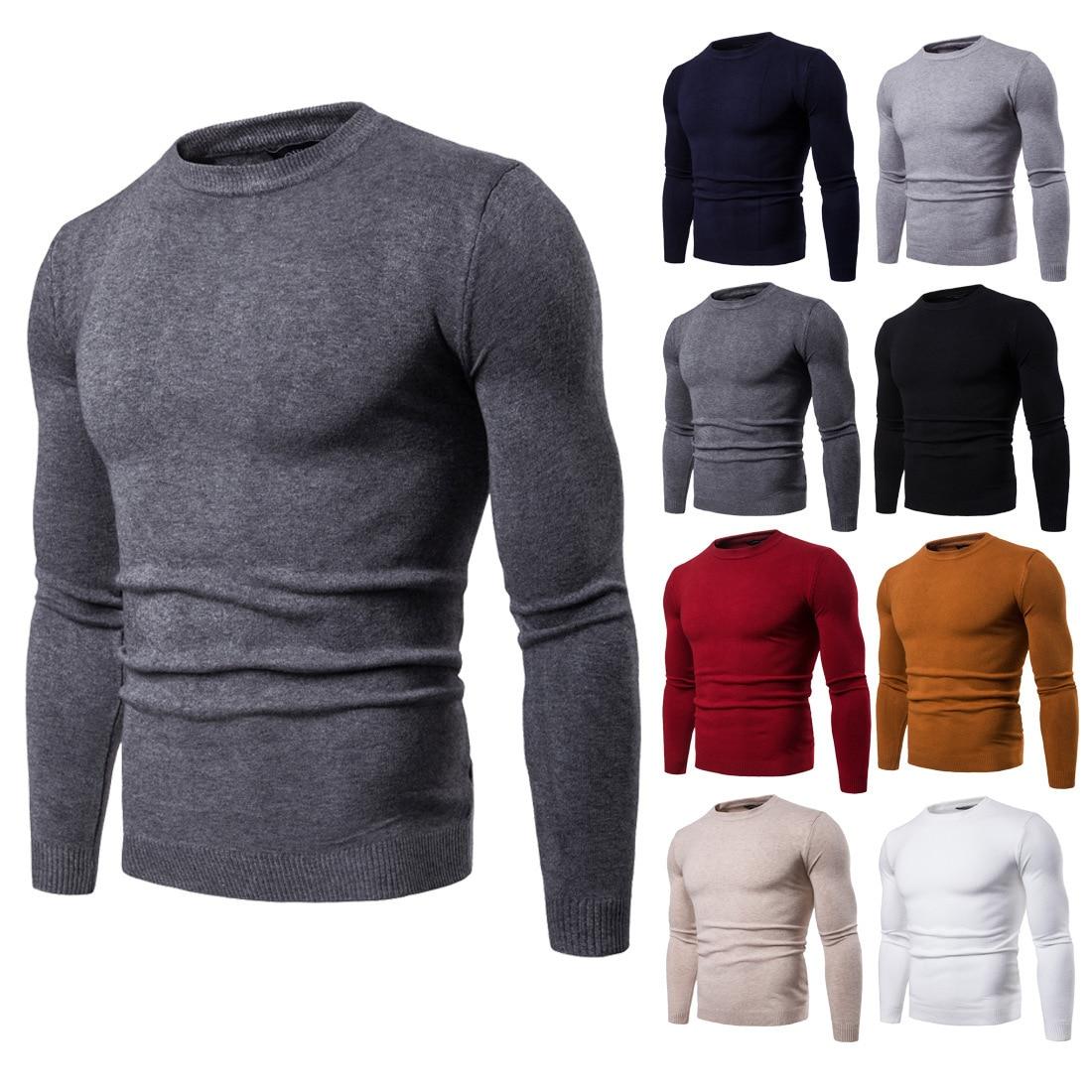 Vomint 2019 Neue Männer der Pulloves Rundhals Einfarbig Männer Pullover Langarm Pullover Grund Verschleiß Muss Haben Icon für Männlichen Mode