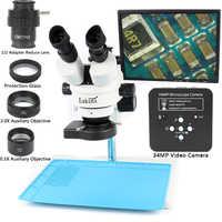 3.5-90X Simul-Focal Zoom Trinocular Stereo Microscope with 34MP HDMI USB Industrial Digital Video Camera PCB Solderin Repair Set
