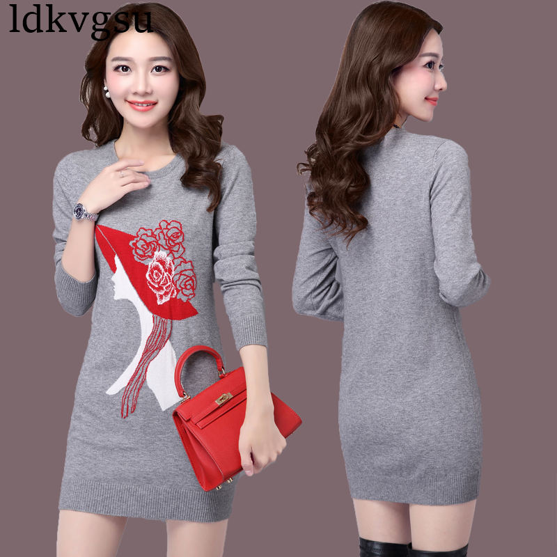 2018 nouvelle grande taille 4XL automne hiver longue Section pull femmes pull Slim tricoté pull coréen impression robe V111 - 4