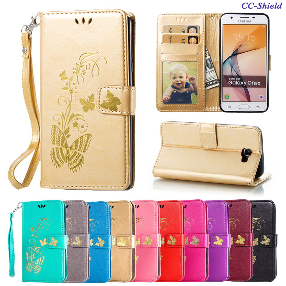 Galleria fotografica Flip Case for Samsung Galaxy J5 J 5 Prime J5Prime G570M/DS SM-G570F SM-G570F/DS SM G570F G570F/DS Butterfly Phone Leather Cover