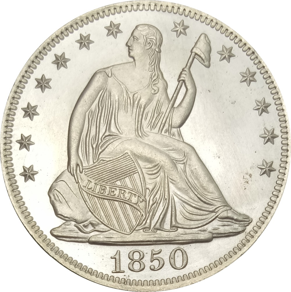 United States Liberty Seated Half Dollars Large Letters in Legend 1850 o No Motto Above Eagle Brass Plated Silver Copy Coin