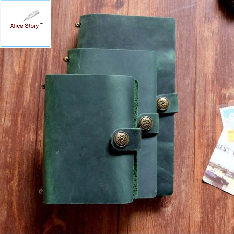 Alice Story Button Style Vintage Travelers Notebook Cowhide Diary Handmade Journal 100% Genuine Leather Spiral Looes Leaf DIY