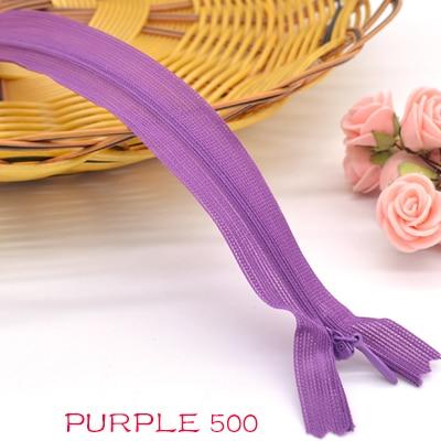 Новинка, 6 шт./лот, фирменная невидимая молния, 25 см/40 см/60 см, задняя подушка, юбка, скрытая, 3#, нейлоновая молния для шитья/одежды, аксессуары, сделай сам - Цвет: purple 500