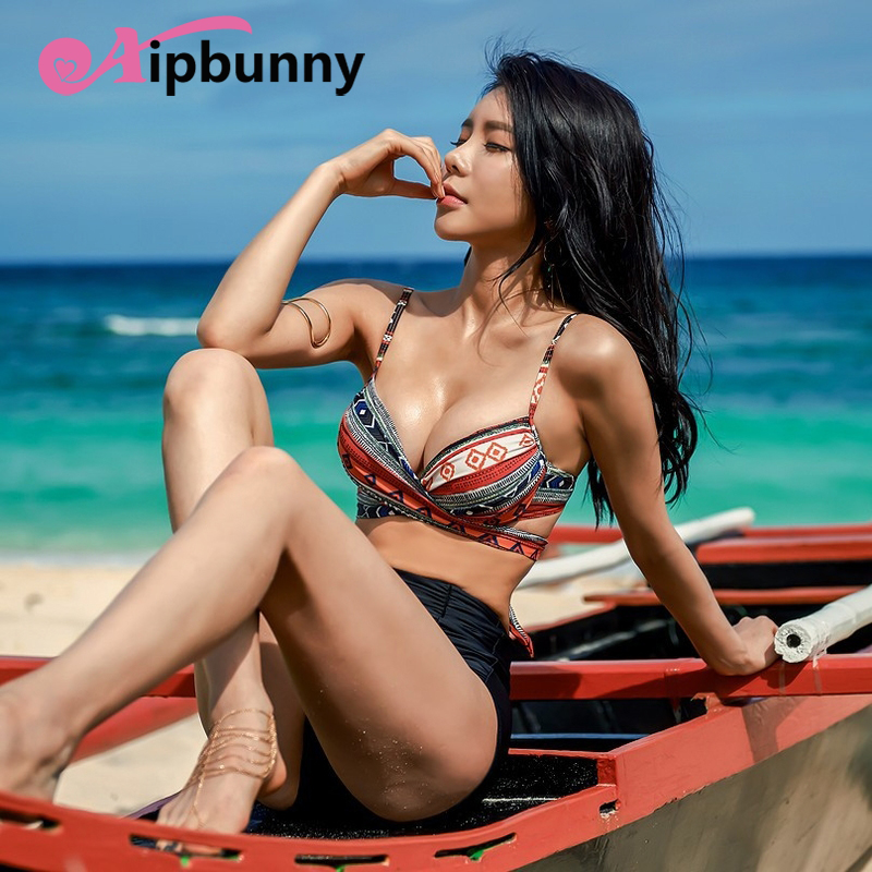 Aipbunny High Waisted <font><b>Mujer</b></font> Geometry <font><b>Bikini</b></font> <font><b>Brazilian</b></font> Swimwear <font><b>Women</b></font> <font><b>2018</b></font> <font><b>Sexy</b></font> <font><b>Bikini</b></font> Set Swiming Bathing Suit Biquini Swimsuit image