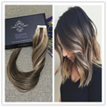 Full Shine Tape in Hair Extensions Human Hair Ombre Balayage Piano Color #3#27 Dip-Dye Tape Extensions 50g Per Pack Skin Weft