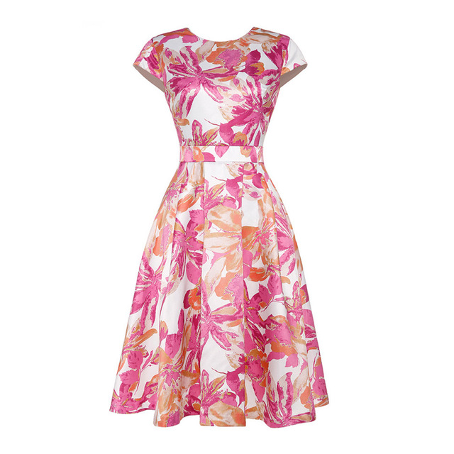 European Boutique Vestido Womens Printed Fit-and-Flare Cocktail Party Dress with Belt
