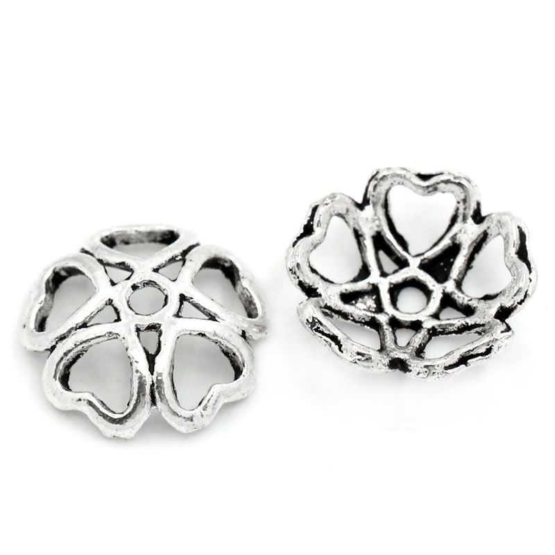 In Novel New 100pcs Metal Bead Caps Hollow Flower Antique Silver Bead Caps For Making Necklace & Bracelet Stoppers 10mmx10mm Design; 3/8x3/8