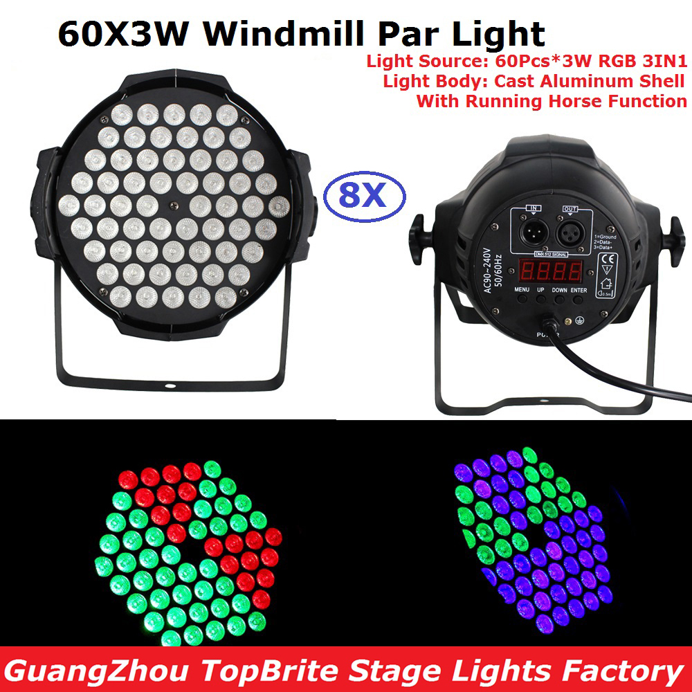 2017 Free Shipping 8Pack 60X3W RGB 3IN1 Led Par Lights 200W High Power LED Par Cans Strobe Effect DMX512 DJ Disco Equipments 3w led rgb high power led lamp bulbs rgb six legs 350ma 3 2 3 4v taiwan genesis hpo chips free shipping
