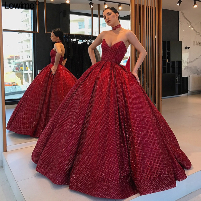Newest Plus Size Burgundy Quinceanera Dresses 2019 Sweetheart Backless Princess Gowns For Sweet <font><b>16</b></font> <font><b>Sexy</b></font> Prom Party Gowns image