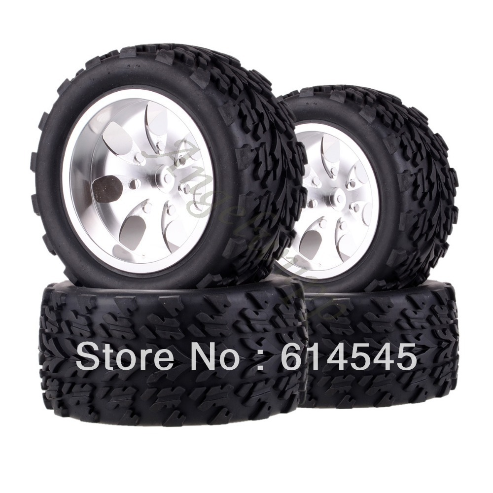 4xRC Monster Truck Bigfoot Metal 1:10 Wheel Rim & Tyre Tires 12MM HEX 88119 4pcs metal red beadlock wheel rim